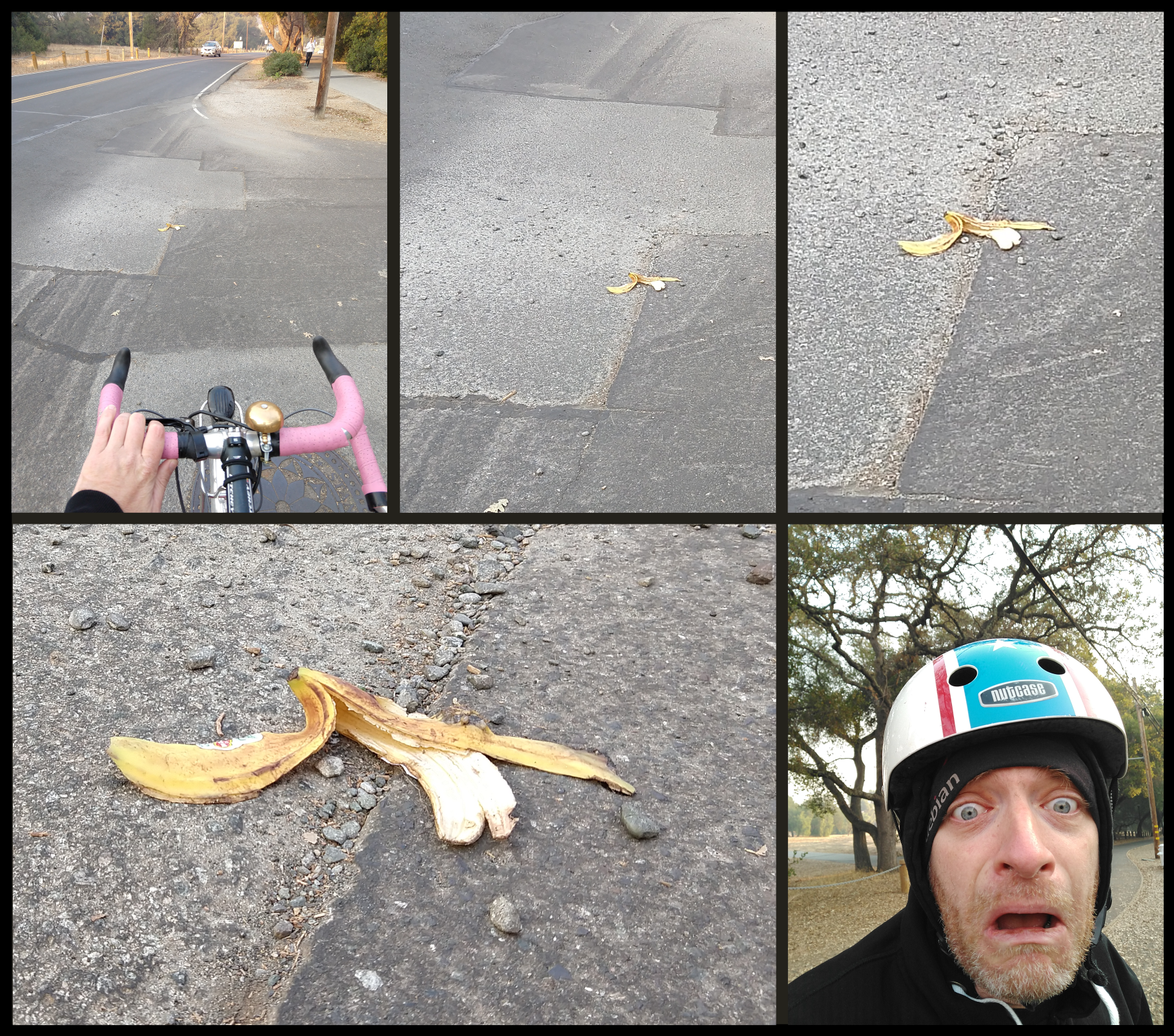 Photo comic of seeing a banana peel in the road while on a bike.